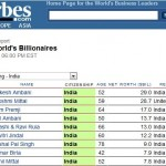Indian Billionaires in 2010 Forbes list - Top 100